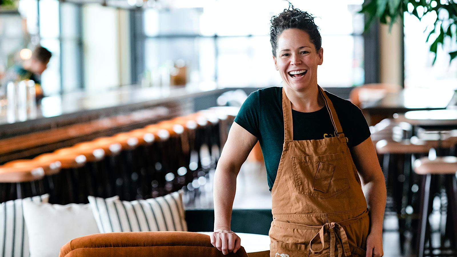 Stephanie Izard in her apron