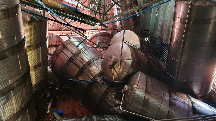 Steel wine tanks collapsed at Darling Cellars winery in South Africa, destroying 250,000 liters of wine.