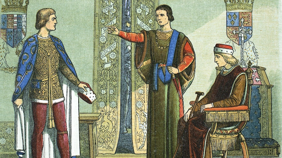 Artist James William Edmund Doyle's 1864 depiction of King Henry VI (seated) and the Duke of Somerset accusing Richard, Duke of York, of high treason.