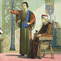 Artist James William Edmund Doyle's 1864 depiction of King Henry VI (seated) and the Duke of Somerset accusing Richard, Duke of York, of high treason.Wine History Mystery: The Case of the Holy Bone Luge and the King's Missing Arm