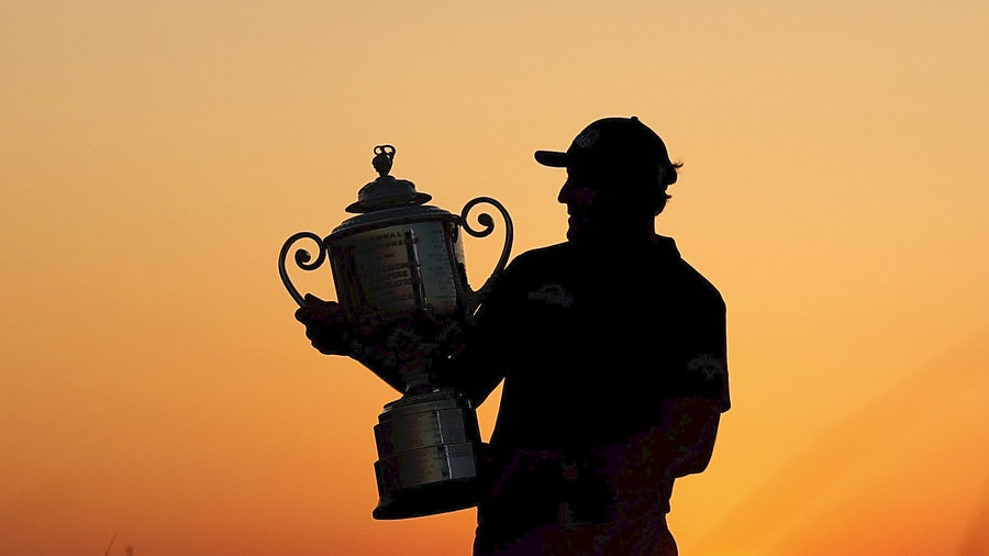 Phil Mickelson raises the Wanamaker Trophy after winning the 2021 PGA Championship at Kiawah Island, S.C.