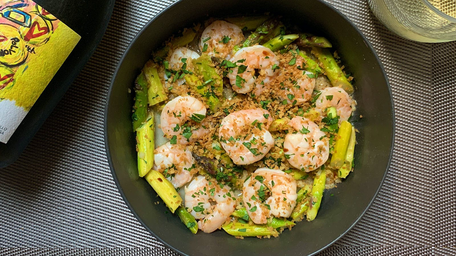 8 & $20: Lemony Shrimp and Asparagus with Garlic Breadcrumbs and Godello