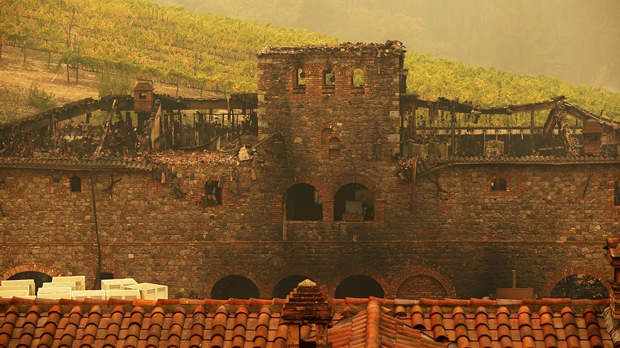The Glass fire damaged buildings at Napa's Castello di Amorosa and blanketed vineyards with smoke. Now insurers are either raising premiums or simply refusing to cover wineries.