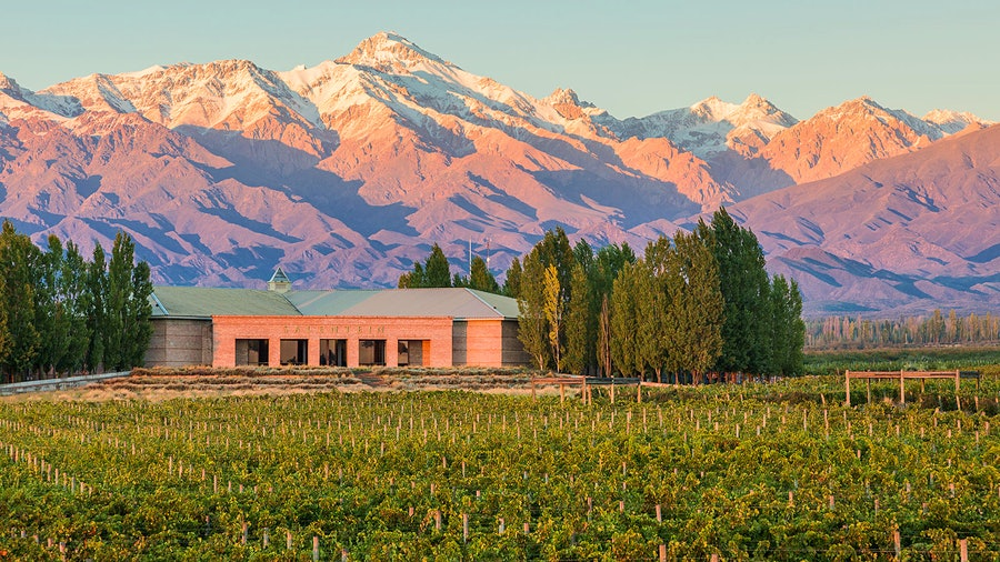 Bodegas Salentein's vineyards are located at the foot of the Andes mountain range, a critical source of water for Uco Valley wineries.