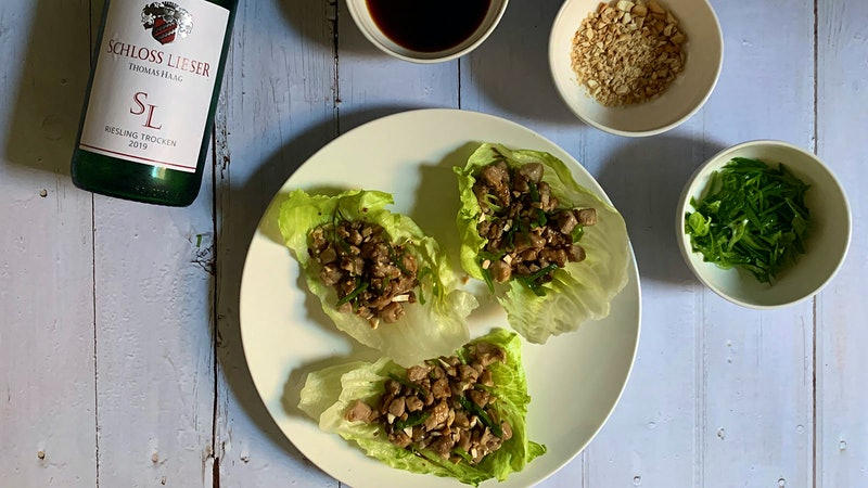 8 & $20: Chicken Lettuce Wraps with German Riesling