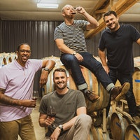 From left: Channing Frye, Kevin Love, L'Angolo Estate general manager Jacob Gray and owner and winemaker Chase RentonNBA Champ Kevin Love Joins Channing Frye's Wine Team