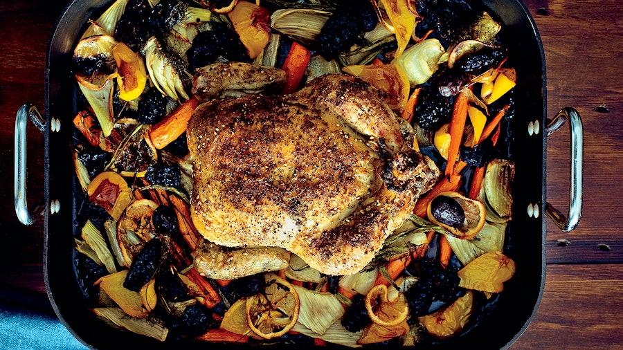 A whole roast bird with sumac, za'atar, preserved lemons and fresh herbs.