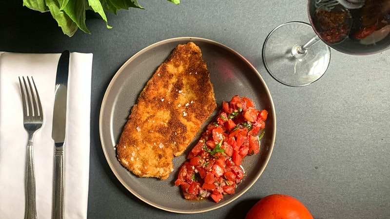 8 & $20: Crispy Chicken with Tomato Topping