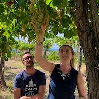 Siblings Cristiana Tiberio and Antonio Tiberio inspect one of their old pergola-trained Trebbiano Abruzzese vines.The Purista