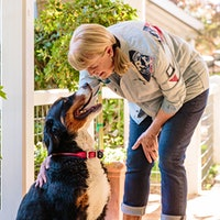 Vintner Robin Lail with Foo, one of her Bernese Mountain DogsDogs: Wineries' Best Friends