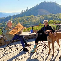 Portrait of Bill and Deborah Harlan with their Rhodesian Ridgeback, KhanDogs: Wine's Best Friends