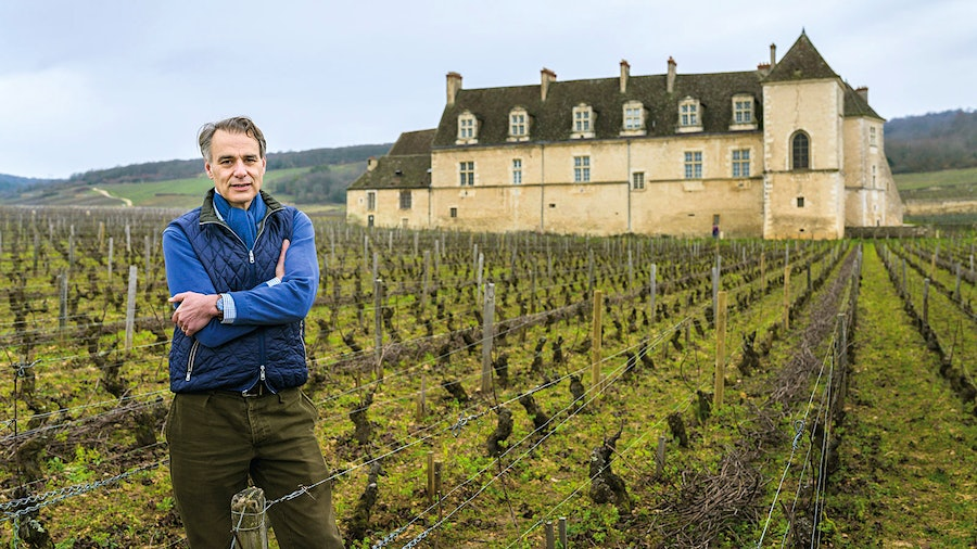 Méo stands in Burgundy's famed Clos de Vougeot vineyard, adjacent to the medieval château. The Vosne-Romanée <i>grand cru</i> has been under his direction since 1989.