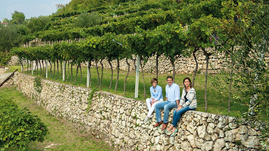 Sabrina, Riccardo and Antonietta Tedeschi oversee the estate founded by their father, where Monte Olmi vineyard marks the site that first yielded a single-vineyard Amarone.
